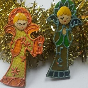 Two vintage Angel ornaments mid-century mod